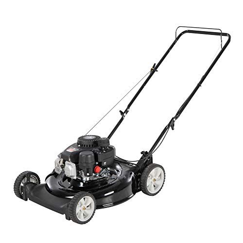 Yard Machines 132cc OHV 21-Inch 2-in-1 Gas Powered Walk Behind Push Lawn Mower - Side Discharge and Mulching Capabilities, Black