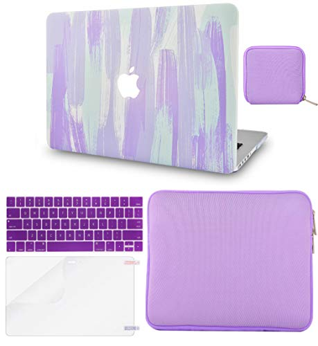 LuvCase 5 in 1 LaptopCase for MacBook Air 13 Inch (Touch ID)(2018-2020) A1932 Retina Display HardShellCover, Slim Sleeve, Pouch, Keyboard Cover & Screen Protector (Purple Mint Mist)