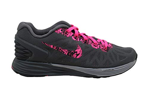 Nike Womens Lunarglide 6 PRT Fabric Low Top Lace Up Running, Pink, Size 5.0