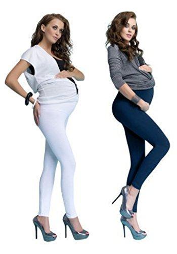 Leggings di cotone, per la maternità, lunghi fino alla caviglia e con patta frontale copri pancione, 2 confezioni