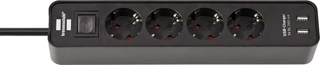 Brennenstuhl Ecolor stekkerdoos, 4-voudig met USB-oplaadfunctie, stekkerdoos met 2 USB-aansluitingen, schakelaar en 1,5 m ...