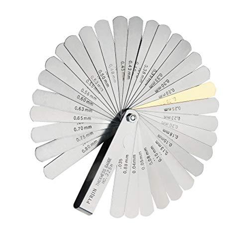 Spessimetro valvole, Spessimetro a Lame, con 32 lame e indicazione di misurazione doppia (sistema metrico e imperiale), Gap Strumento di Misura.