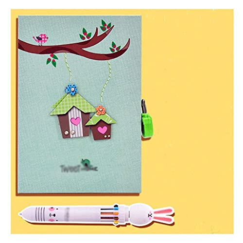 Linjolly Notebook Book Book Combinación Diario Diario con Lock, 5.7 * 8 Journal for Kids Mini Notebooks, Contiene Caja de Regalo y Pluma, Diario con Lock Journal (Color : Green)
