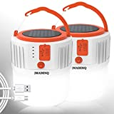 JMADENQ Camping Lantern, Battery Powered LCD Bright Light with 600LM, 4 Light Modes, Tent Lights Solar Powered & USB Charge for Hiking, Camping, Emergency, Fishing, Home (2 Pack)