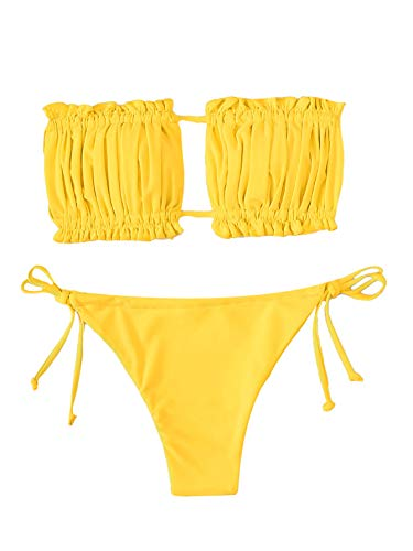Verdusa Women's 2 Piece Ruched Bandeau Self Side Bottom Bathing Suit Swimsuit Yellow S