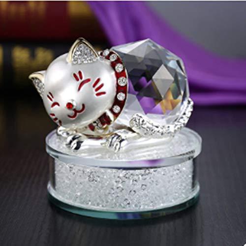 MIANJUMJ beeldhouwwerk kleine sculptuur, Silver Diamond Crystal Lucky Cat nieuwe auto decoratie auto geur auto sieraden parfum rack