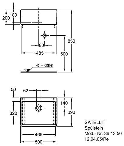 Keramag SpülsteIn Satellit 361350, B50xT39cm xH20cm weiß(Alpin) ohne Befestigingsmaterial!361350000