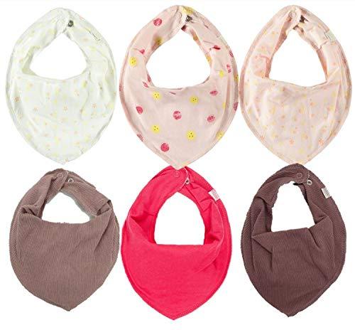 NAME IT * 6er Set Baby Dreieckstücher Halstuch Lätzchen 6 Stück * Nityacob/Nityvalina (3 Sommer Designs aus doppellagiger Baumwolle & 3 Farben uni mit Fleeceunterseite) (6er Blümchen)