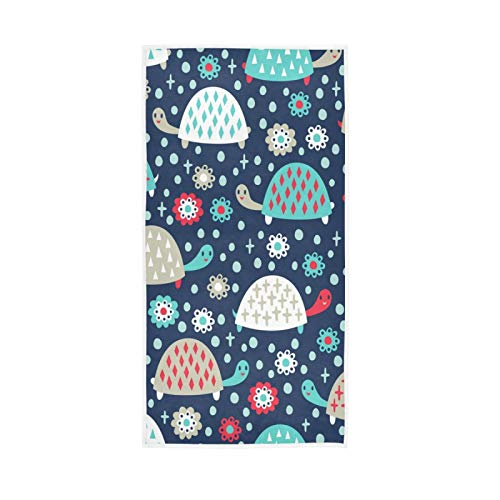 WIHVE Hand Towels 15 x 30 inch, Cartoon Cute Sea Turtle Floral Dots Stars Multipurpose Towels Extra Absorbent for Bathroom,Hand, Face, Gym and Spa