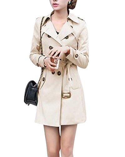 DianShao Damen Trenchcoat Lang Mantel Mit Gürtel Übergangs Lange Ärmel Jacke Kaki M
