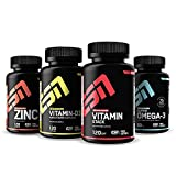 ESN 4er Pack Vitamine & Vitalstoffe – 4 natürliche Vitaminpräparate mit Zink, Omega 3, Vitamin D3 & Vitamin Stack