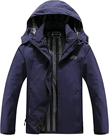 OTU Men's Lightweight Waterproof Hooded Raincoat