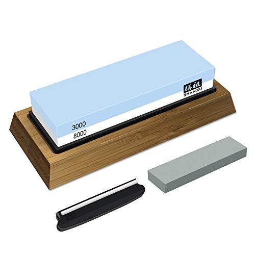 SHAN ZU Schleifstein Abziehstein Wetzstein für Professionell 2-in-1 Doppelseitiger Messerschärfer, Körnung 3000/8000 mit rutschfestem Silikonhalte für Küche Messer