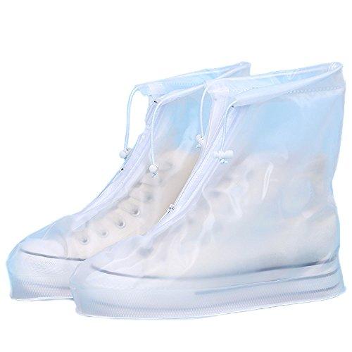 DOLDOA Damen Stiefel, Unisex wasserdichte Regenschuhe Wiederverwendbare Stiefel rutschfest Regenfeste, Dicke, tragbare ÜberschuhhülleKaffee weiß blau