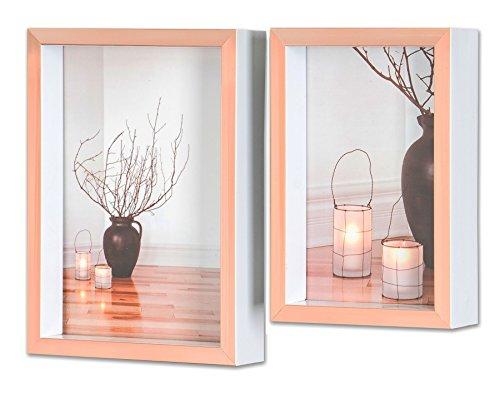 levandeo 2er Set Bilderrahmen Kupfer Rose Weiß 10x15cm 13x18cm Fotorahmen Glas Vintage Retro Design