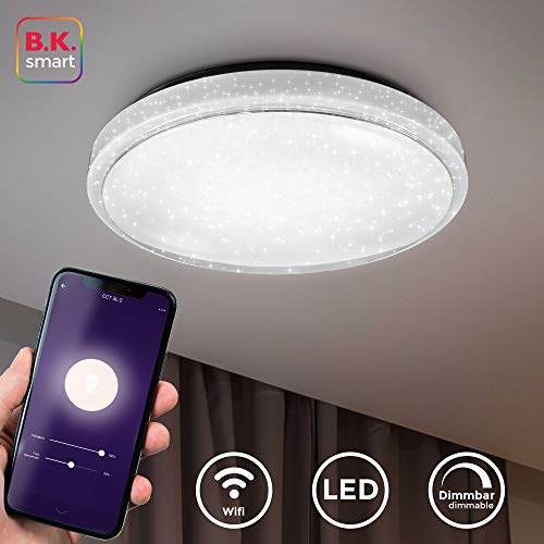 B.K.Licht I LED plafondlamp smart I plafondlamp I 38,5 cm diameter I appbesturing I iOS & Android compatibel I incl. 24W 1920lm LED Platine I WiFi I dimbaar