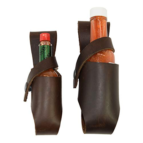 Hide amp Drink Thick Leather Hot Sauce Holster 2Pack 5oz amp 2oz Bottle Belt Sheath Handmade Bourbon Brown