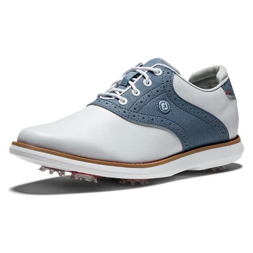 FootJoy Traditions, Zapatos de Golf Mujer, Blanco/Azul, 41 EU