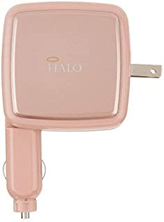 HALO Portable Phone Charger Power Cube 3000mAh - High Speed USB Port Battery Charger and Car Adapter, Rose Gold