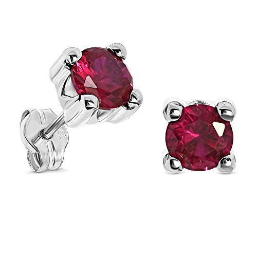 Miore 4 prong earrings for women in 9 kt 375 white gold with red ruby
