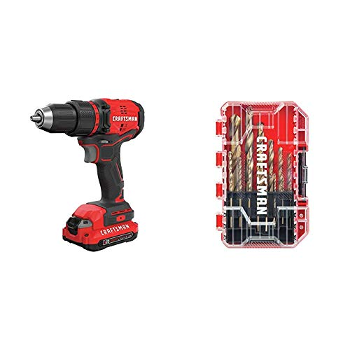 CRAFTSMAN V20 Cordless Drill/Driver Kit, Brushless with Drill Bit Set, Gold Oxide, 14-Piece (CMCD710C1 & CM2214)