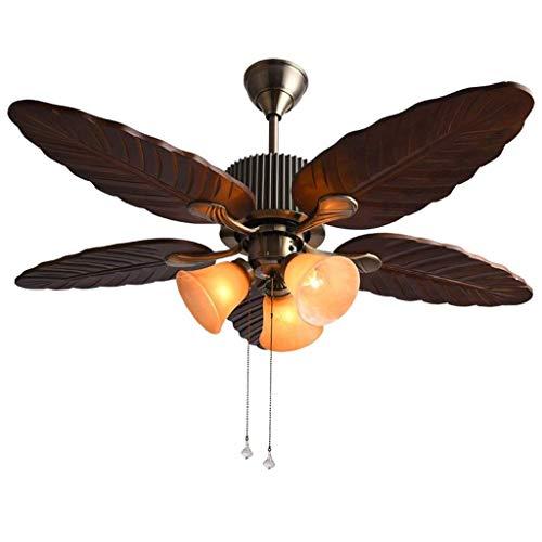 WYBW Candelabros para el Hogar, Iluminación de la Novedad, Luz de Ventilador de Madera, Lámpara de Techo de Bronce Vintage para Ventilador de Techo, Silenciador de Boca de Hierro Forjado, Lámpara Ind