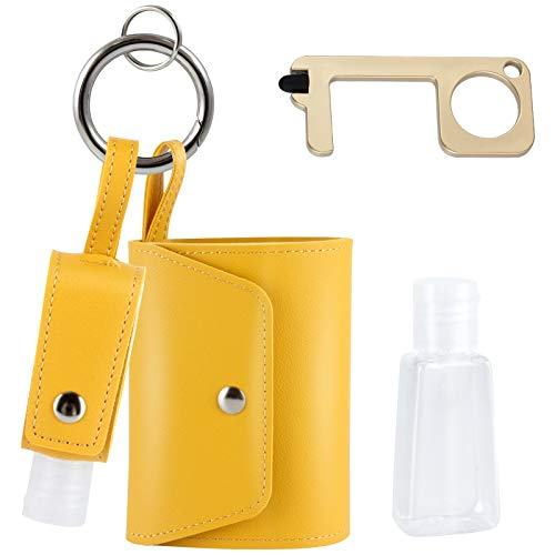 Mini Hand Sanitizer Holder Keychain With Face Mask Holder Case-Mask Storage Case-Mask Bag Pouch-Hand Sanitizer Holder For Backpack With Face Mask Container and Mask Organizer COZAT (yellow)