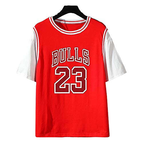 Dybory Camiseta De Baloncesto De La NBA para Hombre, Chicago Bulls # 23 Michael Jordan Algodón Moda Juvenil Niño Manga Corta Verano Hiphop Top,Rojo,4XL