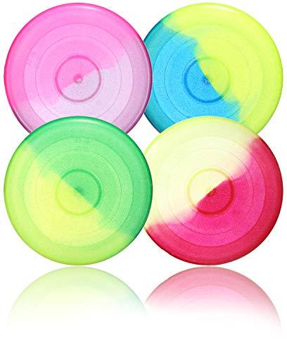 com-four® 4X Frisbee para niños y Adultos - Disco de Lanzamiento para Perros - Frisbee 27 cm - Disco Volador en Colores Brillantes [la selección varía] (4 Piezas - Discusión)