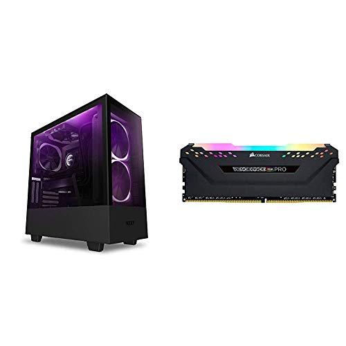 NZXT H510 Elite - CA-H510E-B1 - Premium Mid-Tower ATX Case PC Gaming Case - Black & Corsair Vengeance RGB PRO 16GB (2x8GB) DDR4 3200MHz C16 LED Desktop Memory - Black