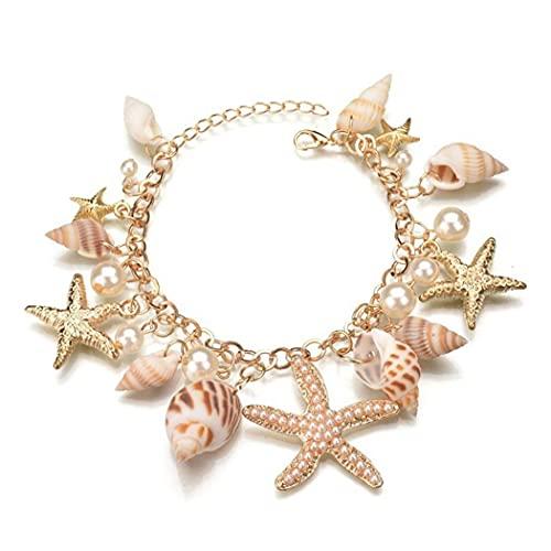 Liadance Pulsera Brazalete de Perlas de Concha de mar 1PC Accesorios Sirena Playa de Hawaii Pulsera Ajustable Seashell joyería para Las Mujeres y Las niñas Moda