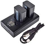 DSTE NP-FW50 Batería Recargable (Paquete de 2) y Cargador USB Dual LED Inteligente compatibles con Sony Alpha a6500, a6300, a6000, a7s, a7, a7s II, a5100, a5000, a3000