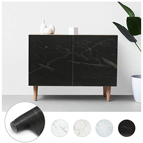 Losu Marmor Folie Selbstklebend Möbelfolie Schwarz 61 x 500cm PVC wasserdicht und schmutzabweisend Selbstklebende Küchenfolie Dekofolie Selbstklebefolie für Wände, Türen, Möbel, Küchenschrank