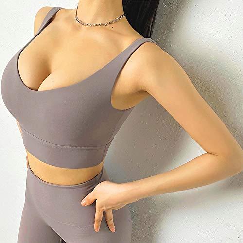 CQOQ Pantalones de Yoga Sexy Top Mujer Sujetador Nylon Blanco Top Transportable Sujetador Deportivo para Mujeres Gym Corset Bralette Removable Portada 6 Colores Ropa de Yoga para Mujer