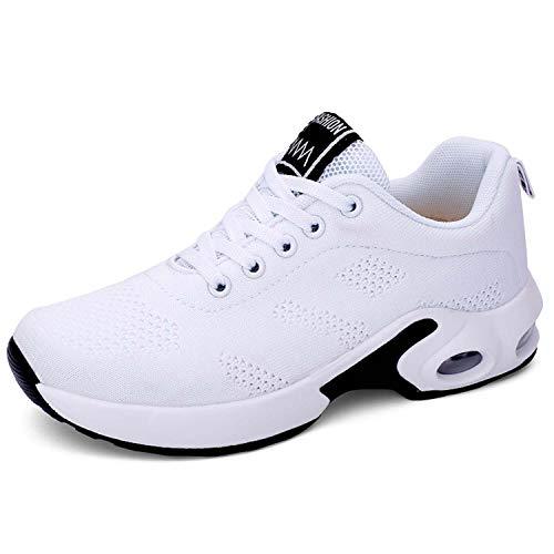 Lanivic - Zapatillas de deporte para mujer, transpirables, zapatillas de tenis, para correr, color Blanco, talla 38 EU Schmal