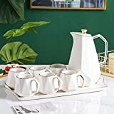 Ceramic Coffee Tea Set Northern Europe Phnom Penh Multicolor Afternoon Tea Pot Cup Tray Set Home Kitchen Decoration Ornaments (Color : Pink)