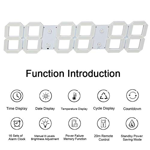 3DLEDデジタルウォールクロック、6桁大型デジタルLEDウォールクロックは、オフィスホームホテルビッグルーム用の常夜灯電子時計をくり抜きます(白い)