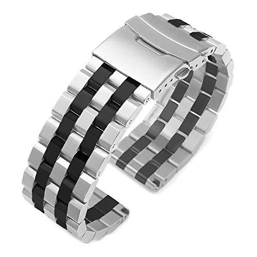 Kai Tian Correa de reloj de acero inoxidable compatible con Samsung Galaxy Watch 46mm Galaxy Watch Gear S3 Frontier / Gear S3 Classic negro plata