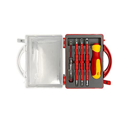 Alupre 5 en 1, destornillador de doble uso aislado, bolígrafo eléctrico, destornillador de aislamiento para electricista, kit de herramientas