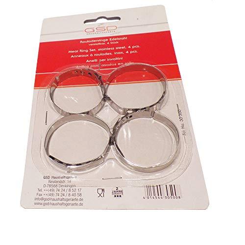 Rouladenringe Rouladenklammern Rouladenspangen 4er Set, Edelstahl rostfrei, Maße pro Stück ca. Ø 4.5 cm bis ca. Ø 5.5 cm verstellbar