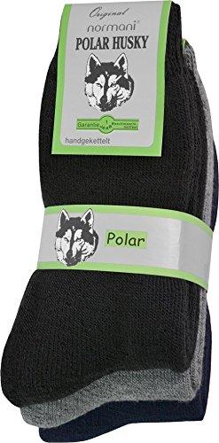 Polar Husky® 3 Paar Socken super warm! Farbe Schwarz-Grau-Blau Größe 43/46
