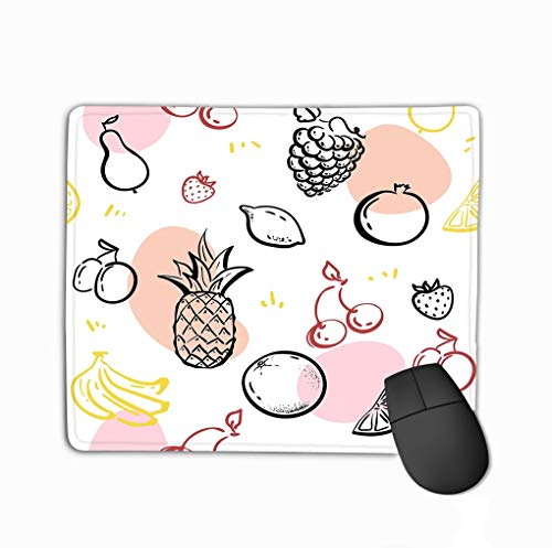 Custom Mouse Pad,11.81 X 9.84 Inch Unique Printed Mouse Mat Design Doodle Fruits Isolated White Blackboard Healthy Nutrition Sketch Pineapple Strawberries Hipster