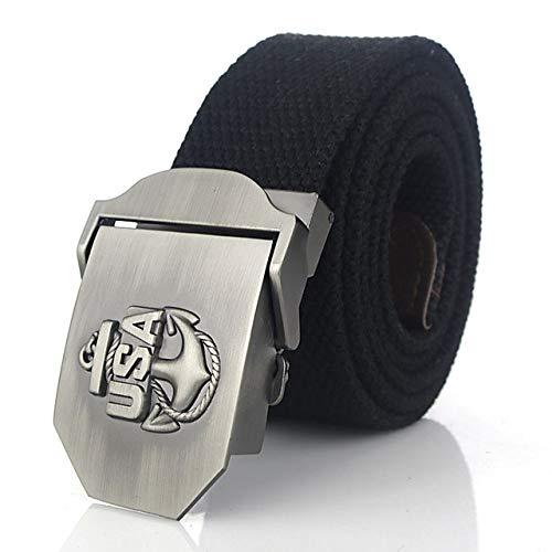 WOFDDH Cinturón de lona, unisex, tejido de moda, vintage, EE.UU., con hebilla de metal, militar, para hombres, mujeres, pantalones vaqueros, casual, vintage, militar, para hombre, negro, 160 cm