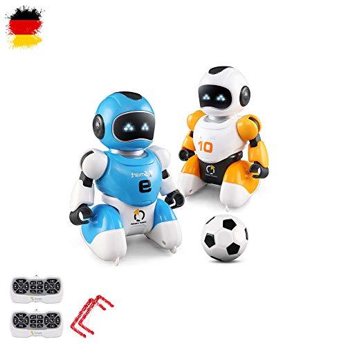 HSP Himoto Robot teledirigido programable para jugar al fútbol, cantar y bailar, incluye 2 robots y 2 mandos a distancia, puertas y pelotas, juego completo