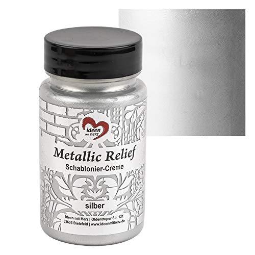 Ideen mit Herz Schablonier-Creme Metallic Relief   feine Strukturpaste   Schablonierfarbe   Schablonierpaste   90 ml   auf Wasserbasis (Silber)