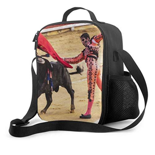 Bolsa de almuerzo para niños, elegantes toreros actúan perfectamente, bolsas de almuerzo con asa, correa para el hombro, bolsa refrigeradora reutilizable para hombres, mujeres, trabajo/escuela/pi