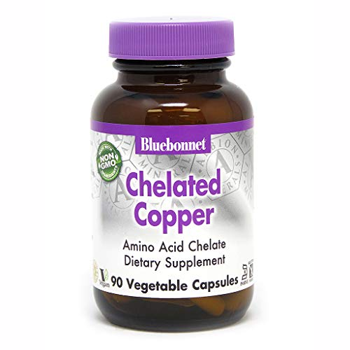 BlueBonnet Albion Chelated Copper Vegetarian Capsules, 90 Count (665)