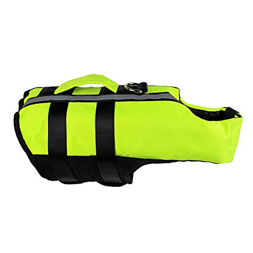 Vohoney Pet Hundeschwimmweste Schwimmweste Badeanzug Hundelebensweste Aqua-Top Größenverstellbar Dog Vest Lifejacket (S, Grün)