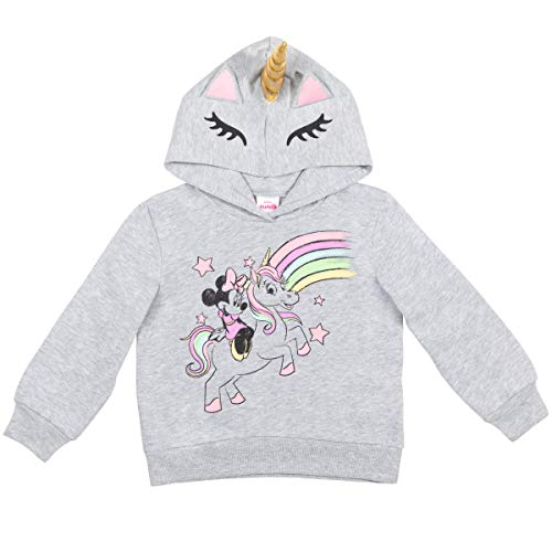Disney Minnie Mouse Toddler Girls Costume Fleece Pullover Hoodie Ears Gray 3T