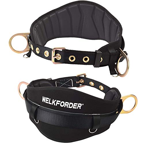 WELKFORDER Tongue Buckle Body Belt With Hot-Pressing Waist Pad and 2 Side D-Rings Personal Protective Equipment Safety Harness   Waist Fitting Size 32'' to 43'' for Work Positioning, Restraint